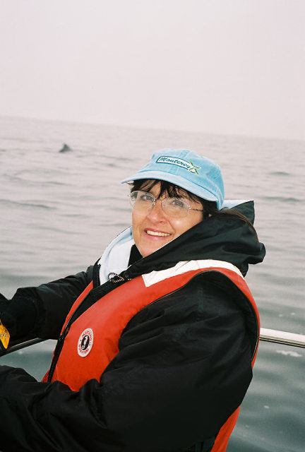 Sue with dorsal fin in background